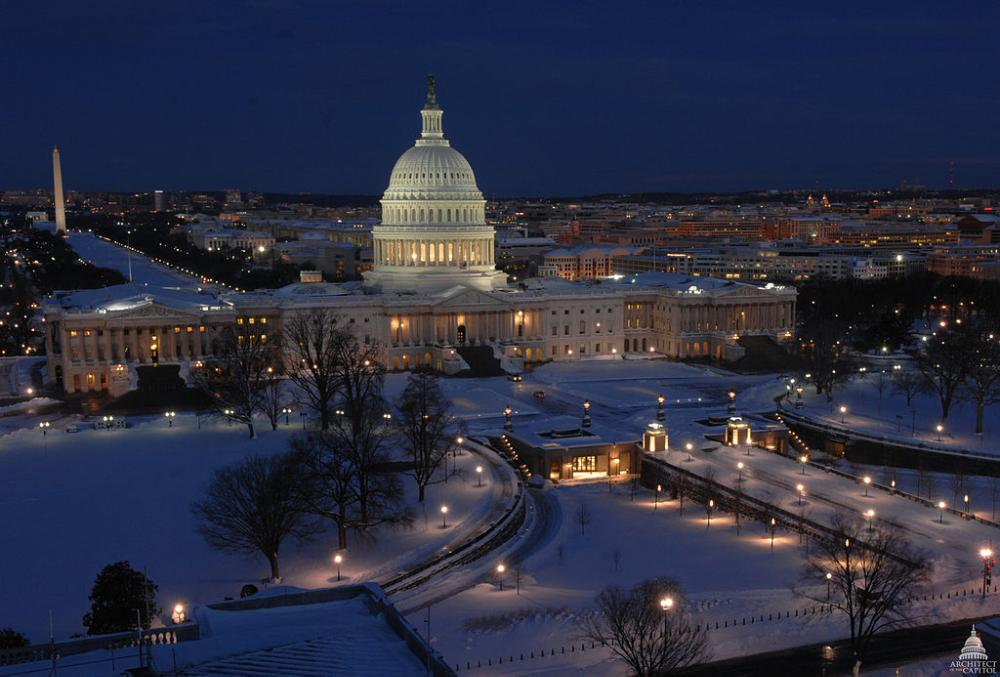 US Capitol building in snow